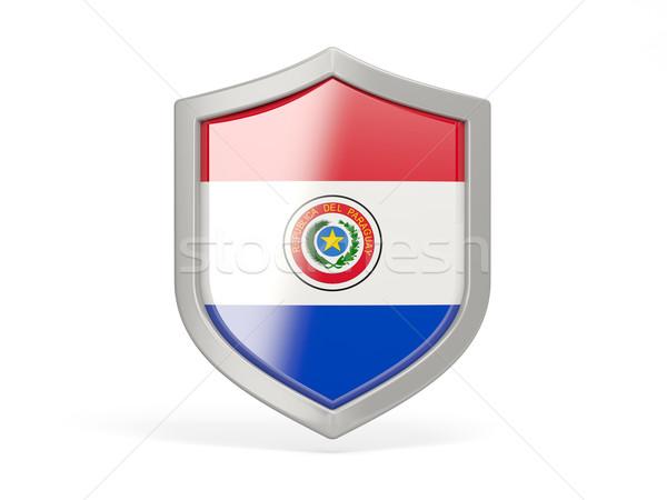 Tarcza ikona banderą Paragwaj odizolowany biały Zdjęcia stock © MikhailMishchenko