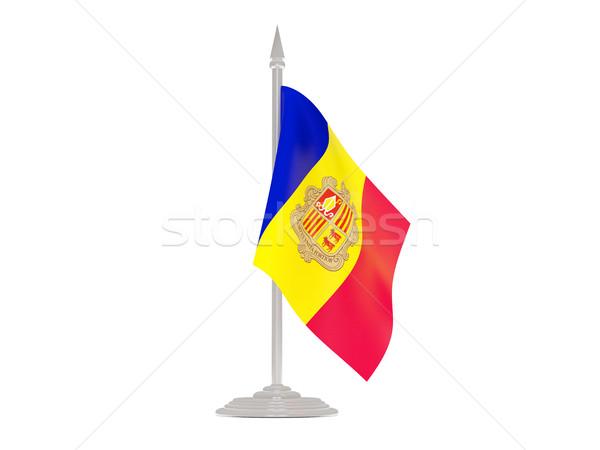 Bandera Andorra asta de bandera 3d aislado blanco Foto stock © MikhailMishchenko