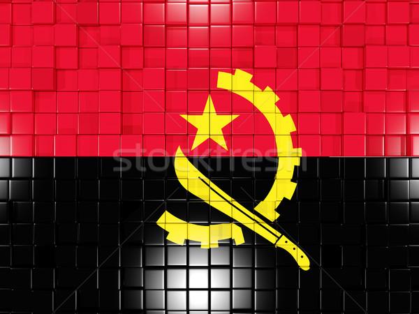 Kare bayrak Tiftik dokuma 3d illustration mozaik Stok fotoğraf © MikhailMishchenko