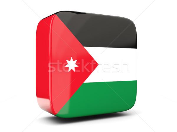 Foto stock: Praça · ícone · bandeira · Jordânia · ilustração · 3d · isolado
