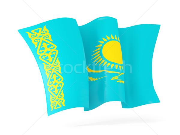 Flagge Kasachstan 3D-Darstellung isoliert weiß Stock foto © MikhailMishchenko