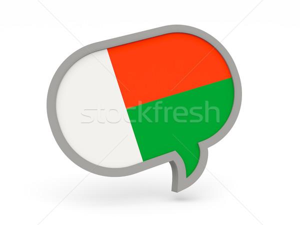 Chat ikon zászló Madagaszkár izolált fehér Stock fotó © MikhailMishchenko