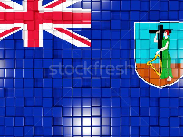 Background with square parts. Flag of montserrat. 3D illustratio Stock photo © MikhailMishchenko