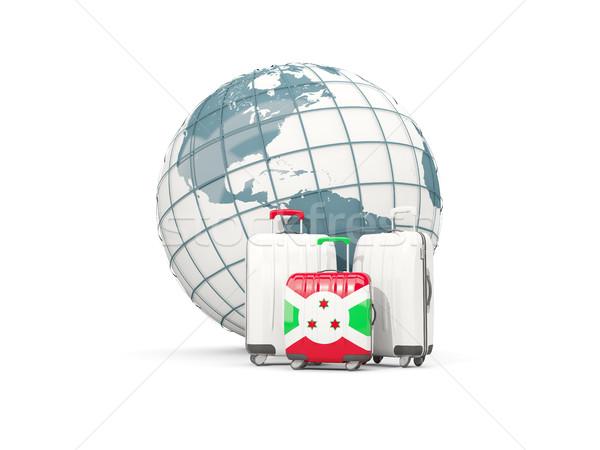 Bagage vlag drie zakken wereldbol 3d illustration Stockfoto © MikhailMishchenko