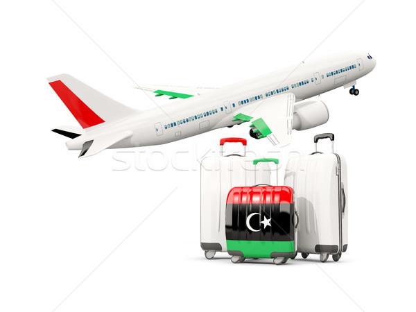 Bagażu banderą trzy torby samolot odizolowany Zdjęcia stock © MikhailMishchenko