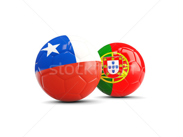 Chile and Portugal soccer balls isolated on white background Stock photo © MikhailMishchenko