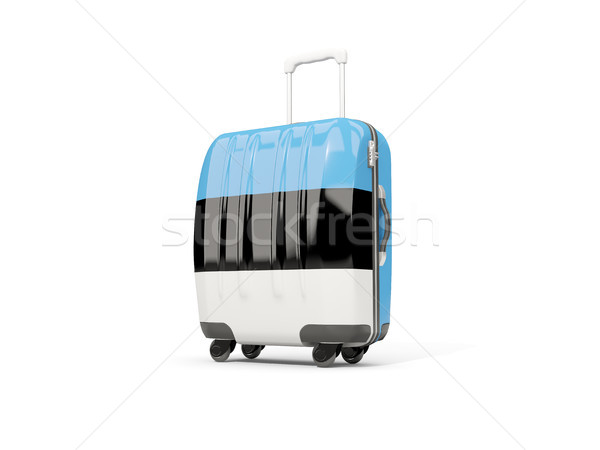 Luggage with flag of estonia. Suitcase isolated on white Stock photo © MikhailMishchenko