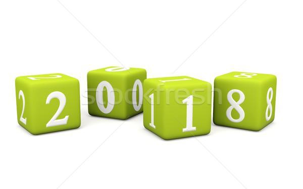 2018 New Year sign on bricks isolated on white Stock photo © MikhailMishchenko