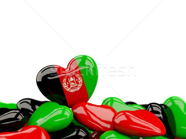 Coração bandeira Afeganistão topo corações isolado Foto stock © MikhailMishchenko