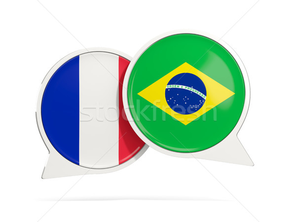 Stock photo: Chat bubbles of France and Brazil isolated on white