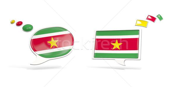 два чате иконки флаг Суринам квадратный Сток-фото © MikhailMishchenko
