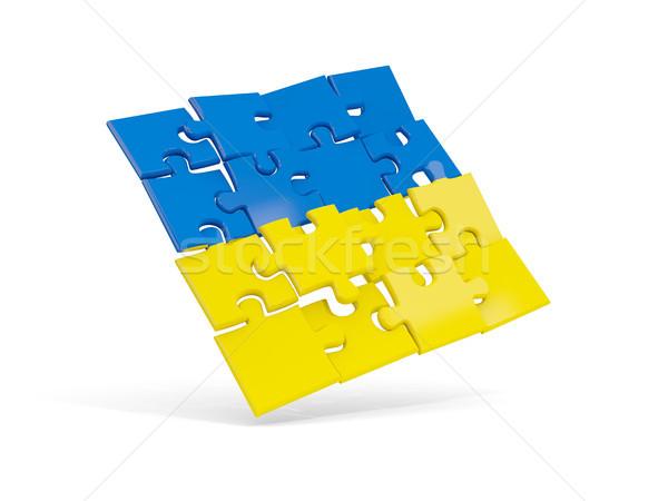 Quebra-cabeça bandeira Ucrânia isolado branco ilustração 3d Foto stock © MikhailMishchenko