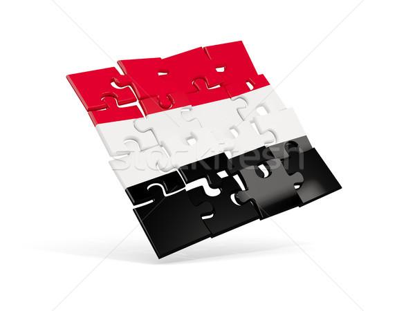 Puzzle flag of yemen isolated on white Stock photo © MikhailMishchenko