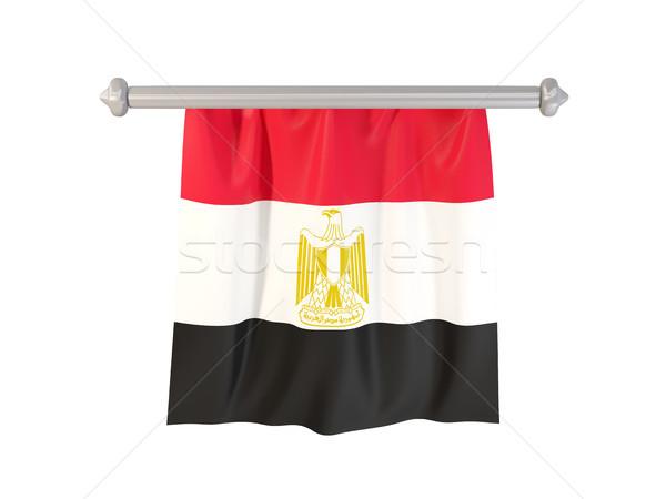Zászló Egyiptom izolált fehér 3d illusztráció címke Stock fotó © MikhailMishchenko