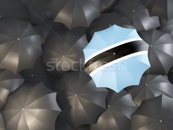Parasol banderą Botswana górę czarny parasole Zdjęcia stock © MikhailMishchenko