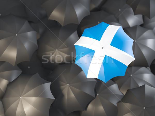 Parasol banderą Szkocji górę czarny parasole Zdjęcia stock © MikhailMishchenko