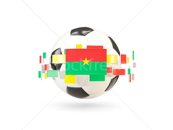 Soccer ball with line of flags. Flag of burkina faso Stock photo © MikhailMishchenko