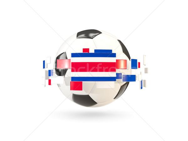 Balón de fútbol línea banderas bandera Costa Rica Foto stock © MikhailMishchenko