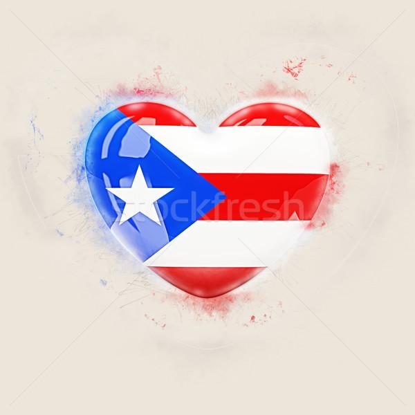Stockfoto: Hart · vlag · Puerto · Rico · grunge · 3d · illustration · reizen