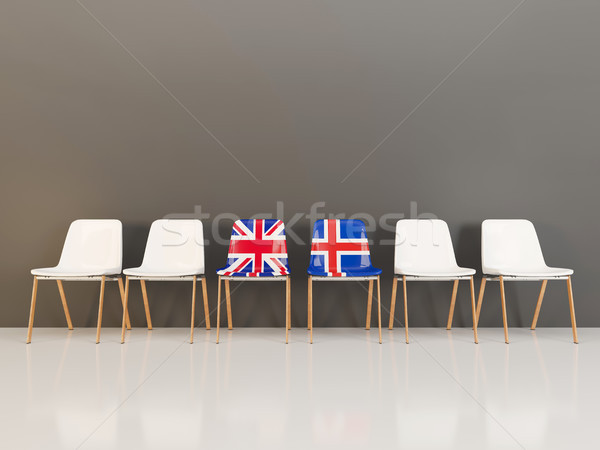 Chairs with flag of United Kingdom and iceland Stock photo © MikhailMishchenko