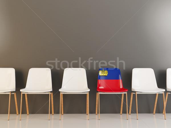 Cadeira bandeira Liechtenstein branco cadeiras Foto stock © MikhailMishchenko