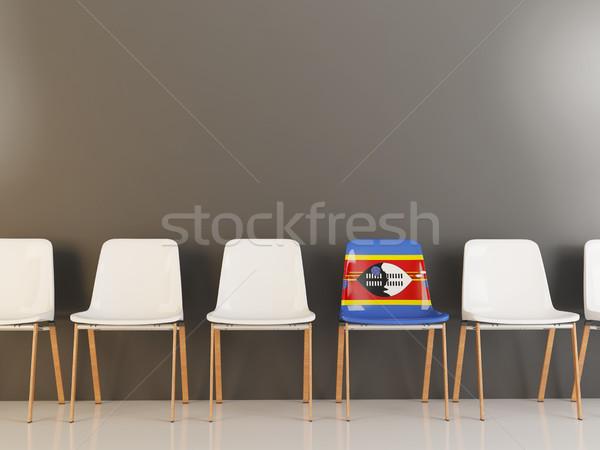 Président pavillon Swaziland rangée blanche chaises Photo stock © MikhailMishchenko