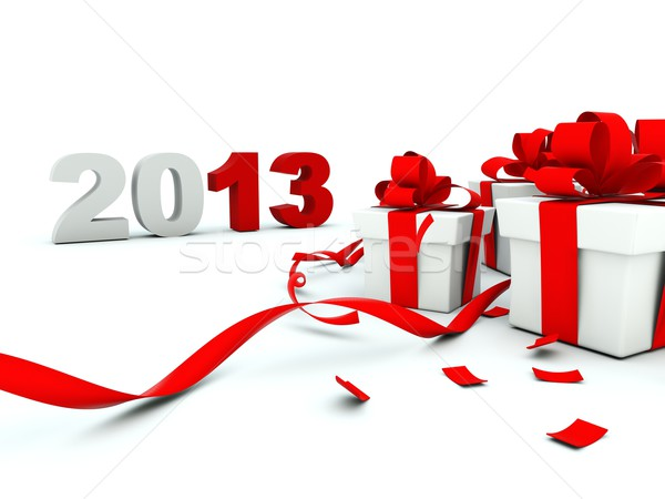 2013 New Year with a presents on white Stock photo © MikhailMishchenko