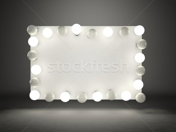 Banner with lightbulbs on black background Stock photo © MikhailMishchenko