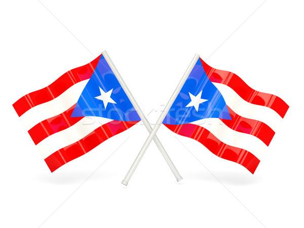 Vlag Puerto Rico twee golvend vlaggen geïsoleerd Stockfoto © MikhailMishchenko