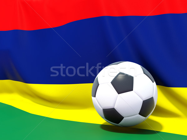 Flag of mauritius with football in front of it Stock photo © MikhailMishchenko