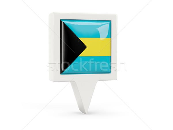Platz Flagge Symbol Bahamas isoliert weiß Stock foto © MikhailMishchenko