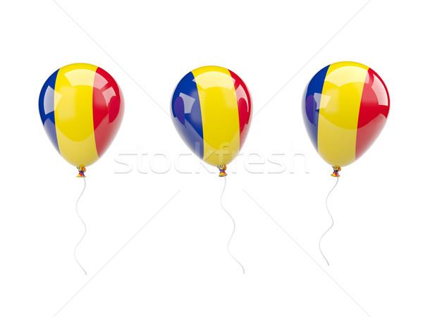 Hava balonlar bayrak Romanya yalıtılmış beyaz Stok fotoğraf © MikhailMishchenko