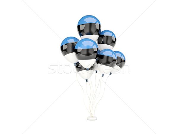 Flying шаров флаг Эстония изолированный белый Сток-фото © MikhailMishchenko