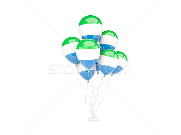 Flying balloons with flag of sierra leone Stock photo © MikhailMishchenko