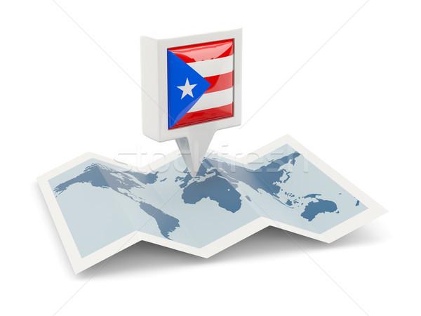 Vierkante pin vlag Puerto Rico kaart reizen Stockfoto © MikhailMishchenko