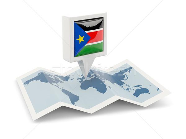 Vierkante pin vlag zuiden Soedan kaart Stockfoto © MikhailMishchenko