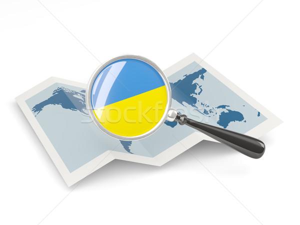 拡大された フラグ ウクライナ 地図 白 ストックフォト © MikhailMishchenko