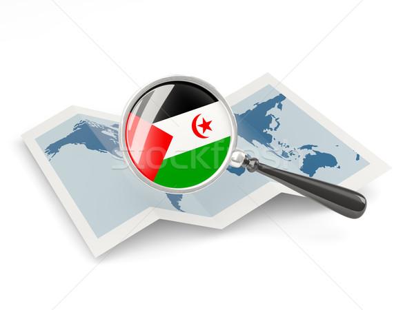 Magnified flag of western sahara with map Stock photo © MikhailMishchenko