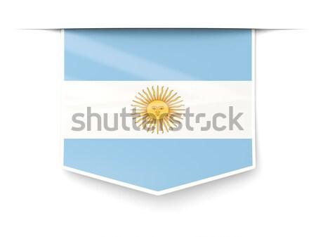 Tér ikon zászló Argentína fém keret Stock fotó © MikhailMishchenko