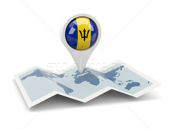 Round pin with flag of barbados Stock photo © MikhailMishchenko