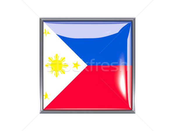 Carré icône pavillon Philippines métal cadre Photo stock © MikhailMishchenko