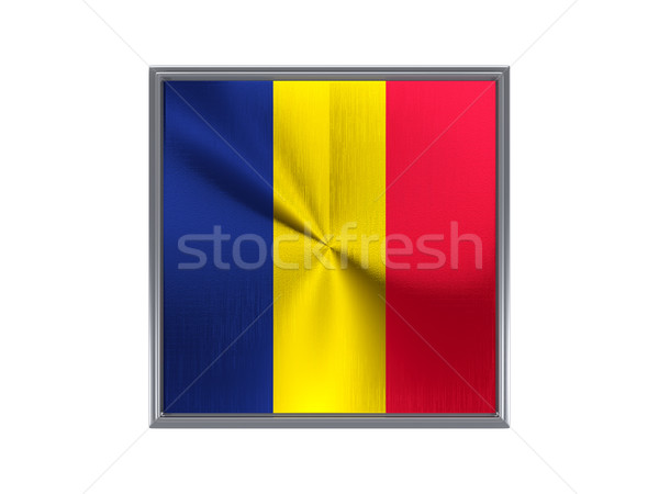 Square metal button with flag of chad Stock photo © MikhailMishchenko