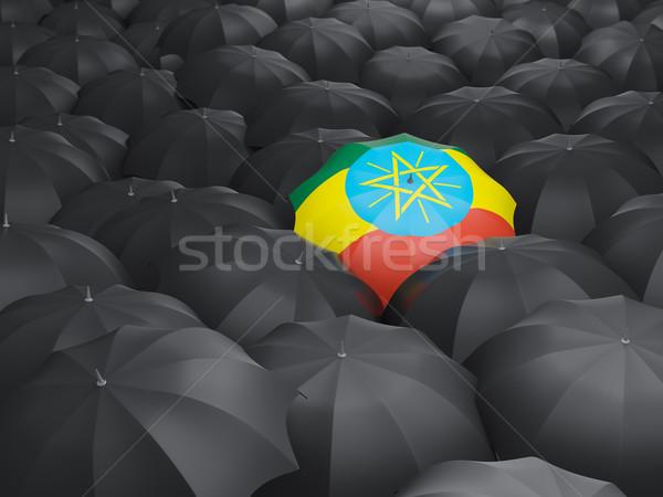 Parasol banderą Etiopia czarny parasole deszcz Zdjęcia stock © MikhailMishchenko