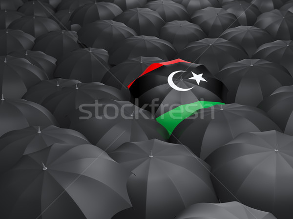 Parasol banderą Libia czarny parasole podróży Zdjęcia stock © MikhailMishchenko