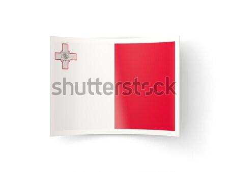 Vierkante metaal knop vlag Malta geïsoleerd Stockfoto © MikhailMishchenko