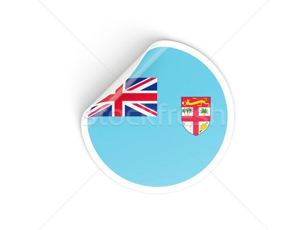 Sticker vlag Fiji geïsoleerd witte reizen Stockfoto © MikhailMishchenko