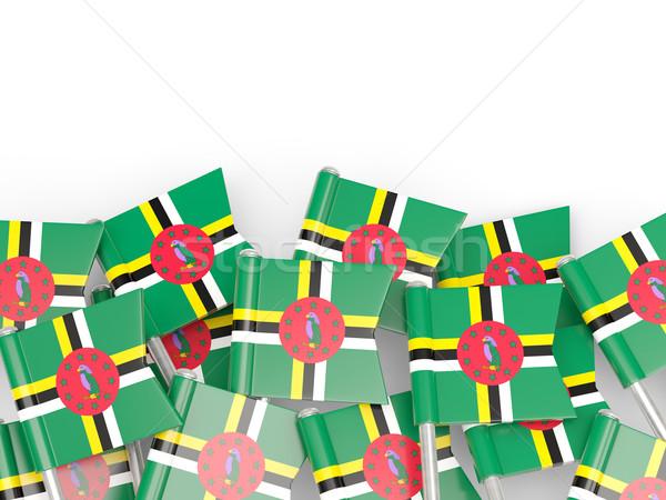 Bandeira pin Dominica isolado branco fundo Foto stock © MikhailMishchenko