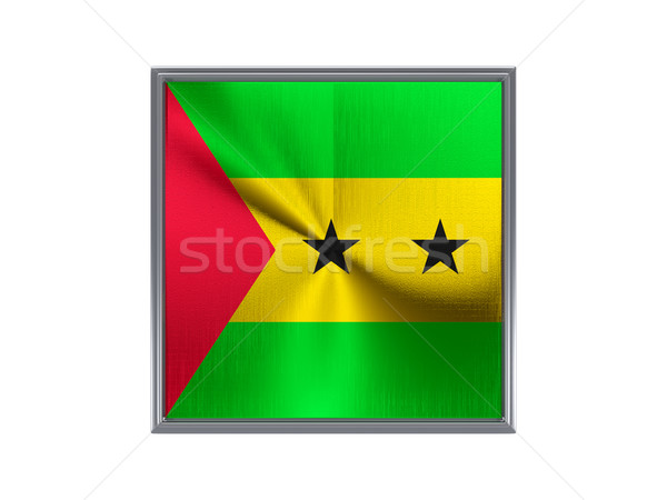 Square metal button with flag of sao tome and principe Stock photo © MikhailMishchenko