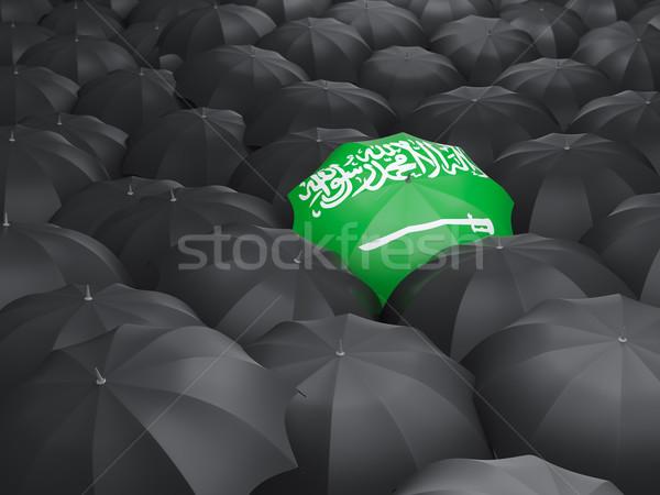 Guarda-chuva bandeira Arábia Saudita preto guarda-chuvas viajar Foto stock © MikhailMishchenko