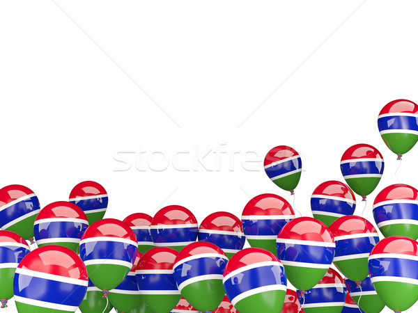 Flying balloons with flag of gambia Stock photo © MikhailMishchenko